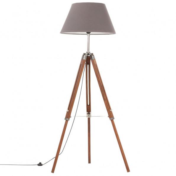Gulvlampe med trefod 141 cm massivt teaktræ honningbrun og grå