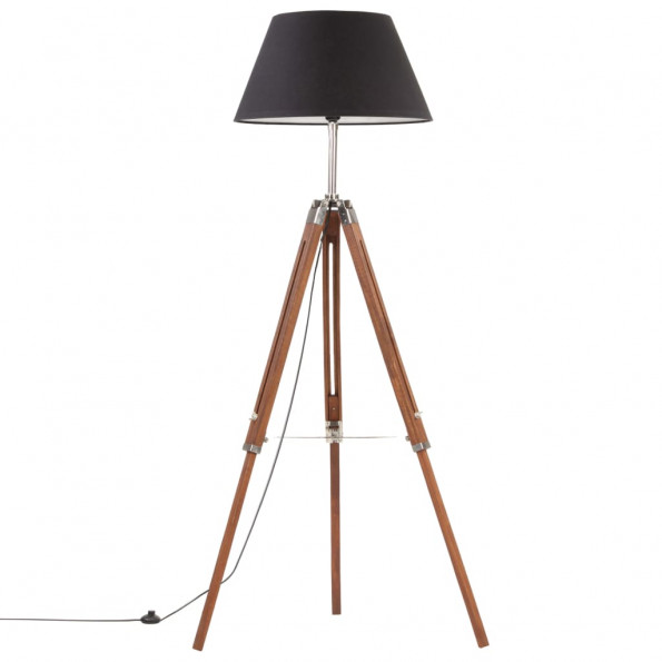 Gulvlampe med trefod 141 cm massivt teaktræ honningbrun og sort