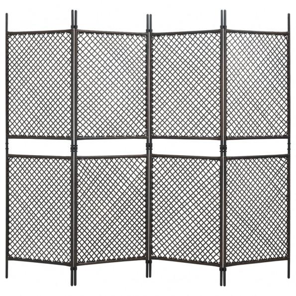 4-panels rumdeler 240x200 cm polyrattan brun