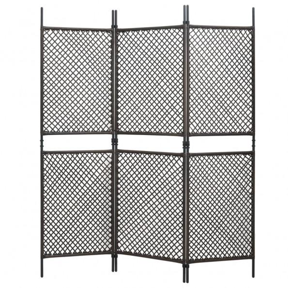 3-panels rumdeler 180x200 cm polyrattan brun
