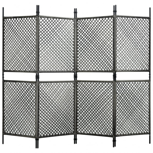 4-panels rumdeler 240x200 cm polyrattan antracitgrå