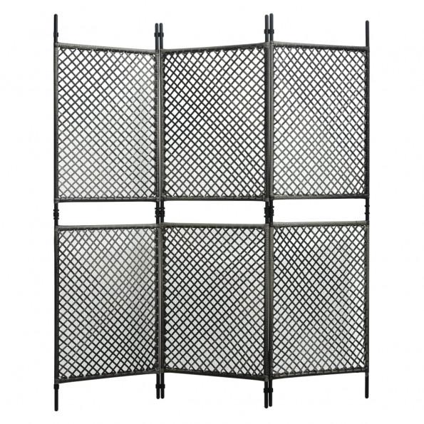 3-panels rumdeler 180x200 cm polyrattan antracitgrå