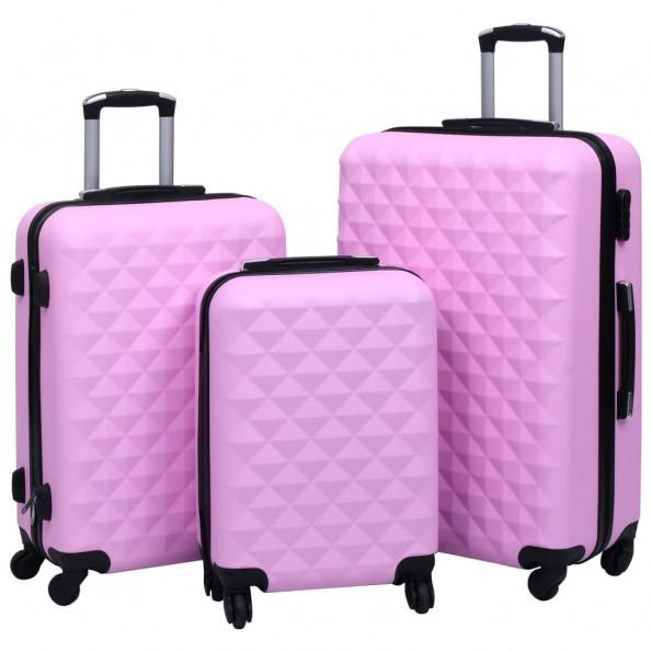 Kuffertsæt 3 stk. hardcase ABS pink