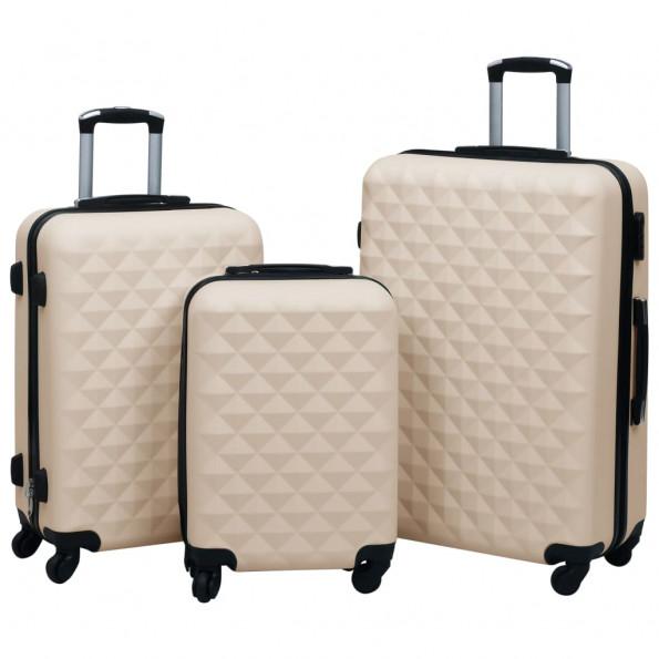 Kuffertsæt 3 dele hardcase ABS guldfarvet