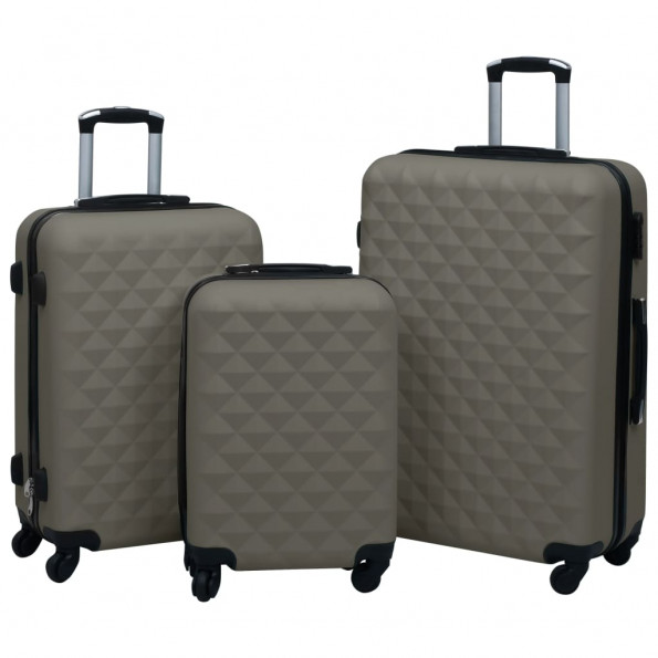Kuffertsæt 3 dele hardcase ABS antracitgrå