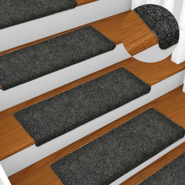 15 stk. trappemåtter tuftet 65x25 cm grå
