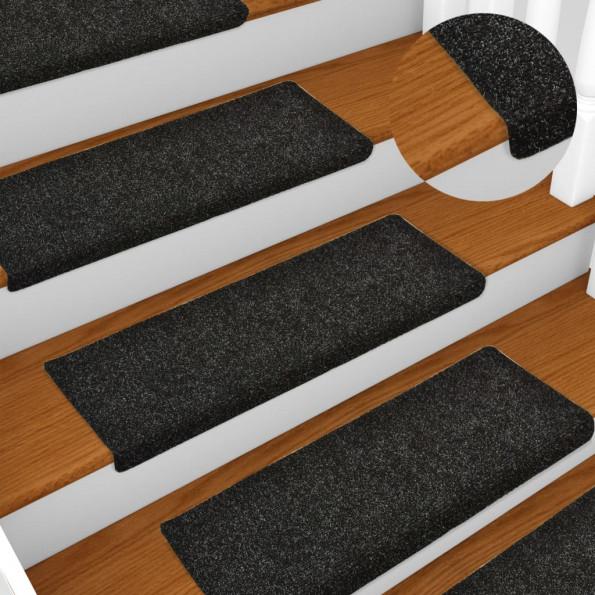 15 stk. trappemåtter tuftet 65x25 cm sort