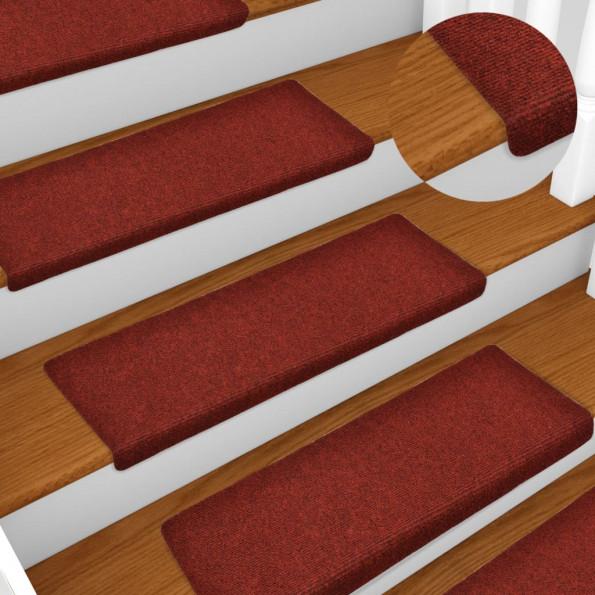 15 stk. trappemåtter tuftet 65x25 cm rød