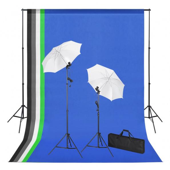 VdaXL fotostudieudstyr med bagtæpper, lamper og paraplyer