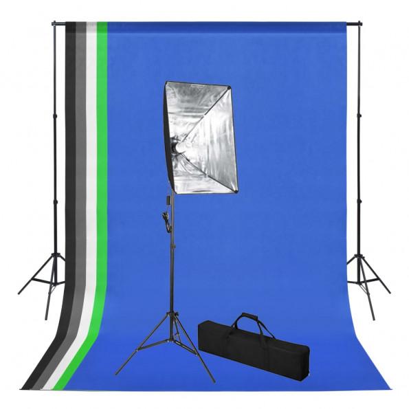 Fototstudieudstyr med bagtæppe og softboxbelysning
