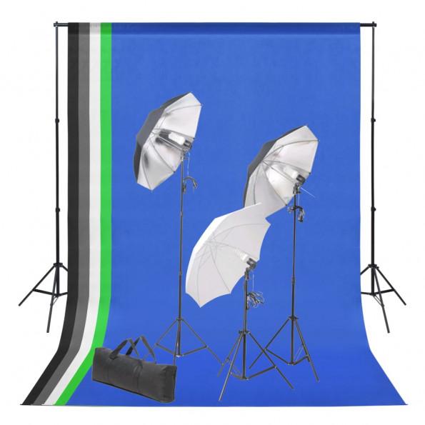Fotostudiesæt med bagtæppe og belysningssæt