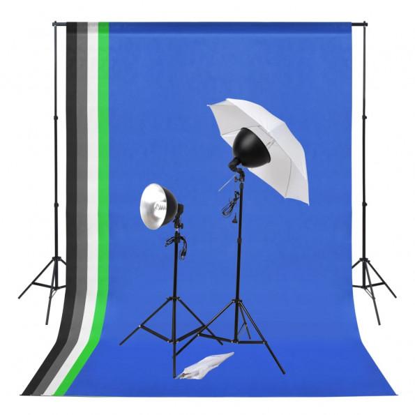 Fotostudieudstyr med lampesæt og bagtæpper