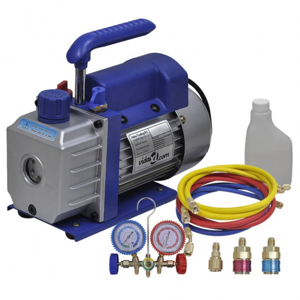 Ettrins-vakuumpumpe med tovejs-trykmålersæt med manifold