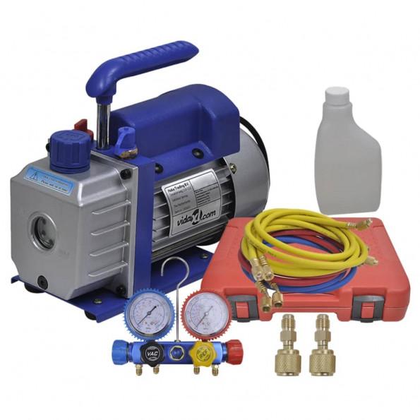 Ettrins-vakuumpumpe med firevejs-trykmålersæt med manifold