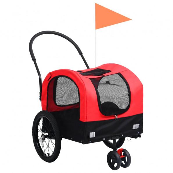 2-i-1 cykelanhænger og joggingklapvogn kæledyr rød sort