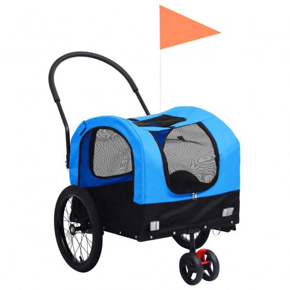 2-i-1 cykelanhænger og joggingklapvogn kæledyr blå sort
