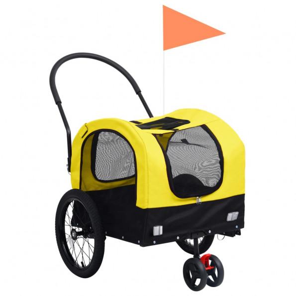 2-i-1 cykelanhænger og joggingklapvogn kæledyr gul sort