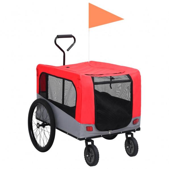 2-i-1 cykelanhænger og joggingklapvogn kæledyr rød grå