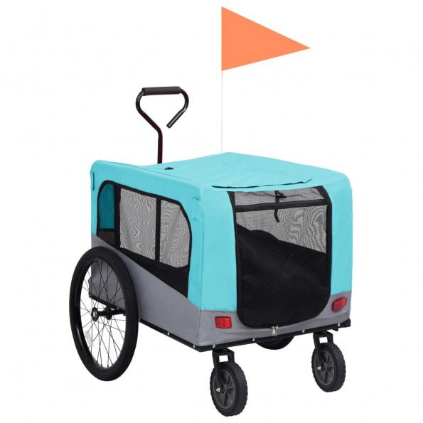 2-i-1 cykelanhænger og klapvogn til kæledyr blå grå