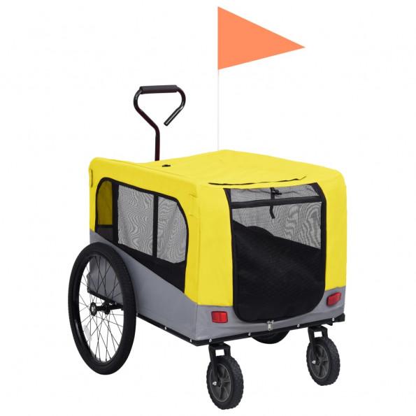 2-i-1 cykelanhænger og klapvogn til kæledyr gul grå