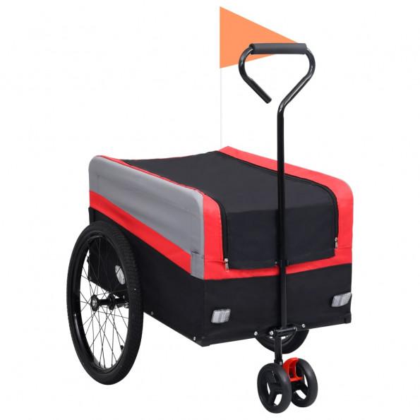 2-i-1 XXL cykeltrailer & trækvogn rød grå og sort