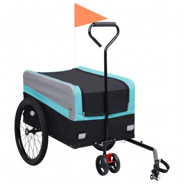 2-i-1 XXL cykeltrailer & trækvogn blå grå og sort