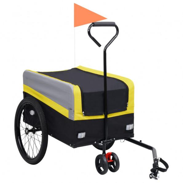 2-i-1 XXL cykeltrailer & trækvogn gul grå og sort