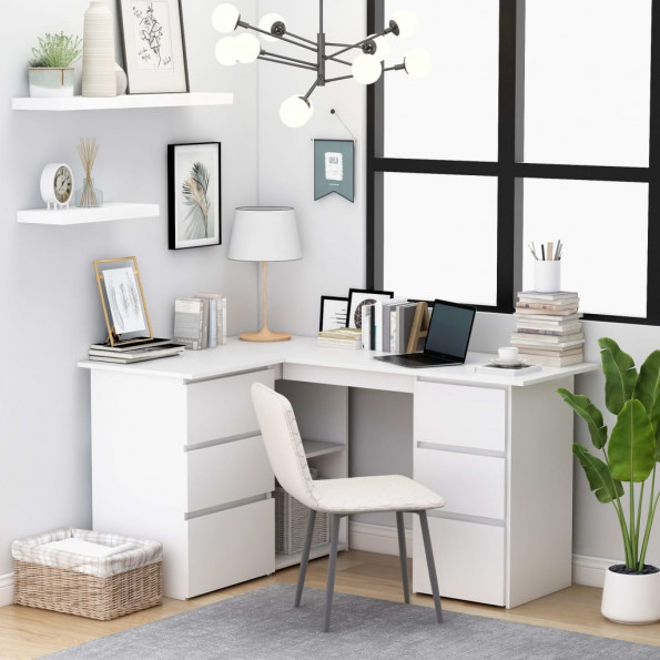 Hjørneskrivebord 145x100x76 cm spånplade hvid