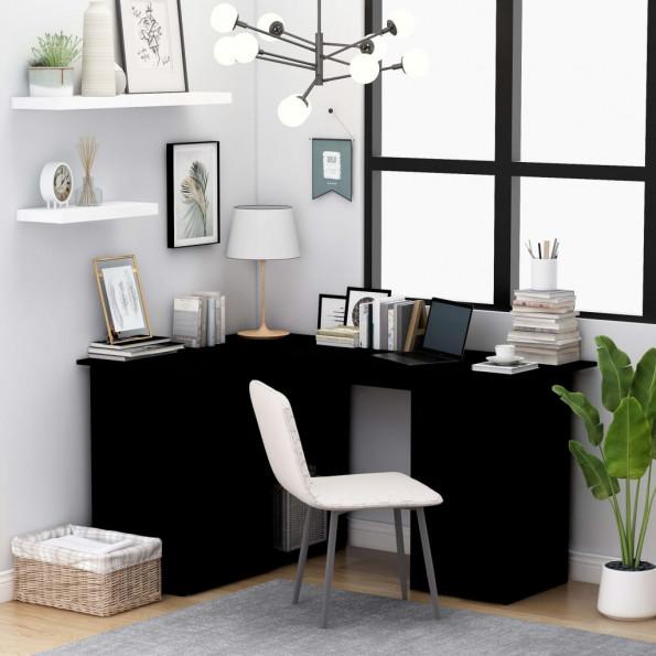 Hjørneskrivebord 145x100x76 cm spånplade sort