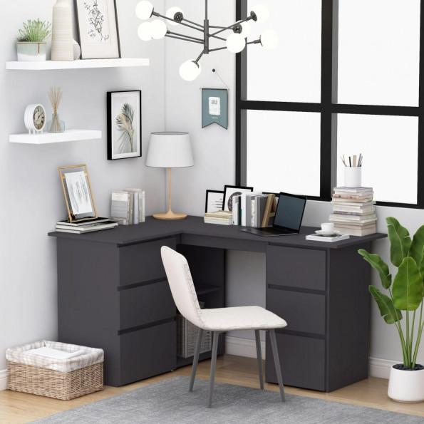 Hjørneskrivebord 145x100x76 cm spånplade grå