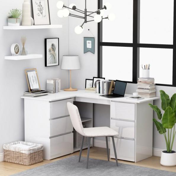Hjørneskrivebord 145x100x76 cm spånplade højglans hvid