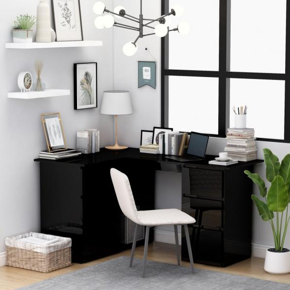 Hjørneskrivebord 145x100x76 cm spånplade højglans sort