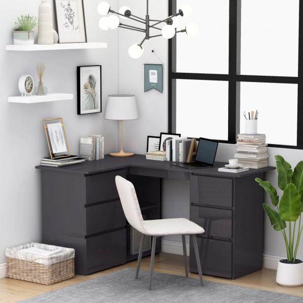 Hjørneskrivebord 145x100x76 cm spånplade grå højglans