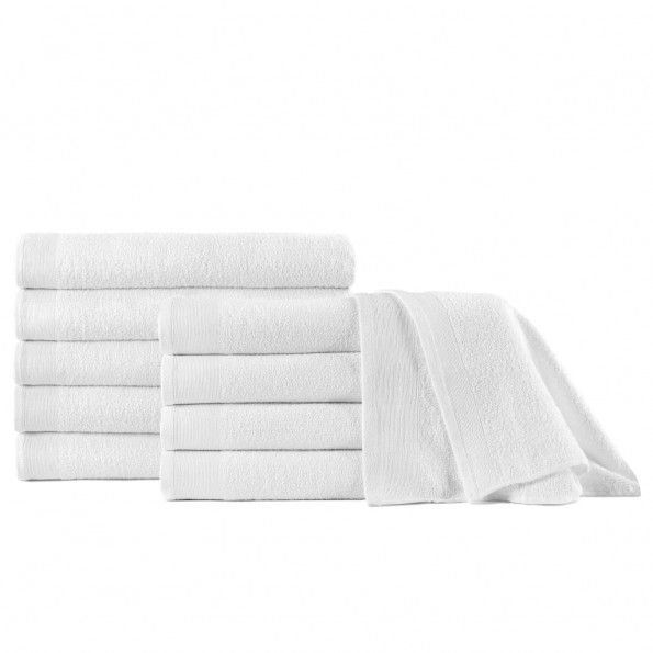 Badehåndklæder 10 stk. bomuld 350 gsm 70x140 cm hvid