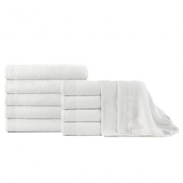 Badehåndklæder 10 stk. bomuld 350 gsm 100x150 cm hvid