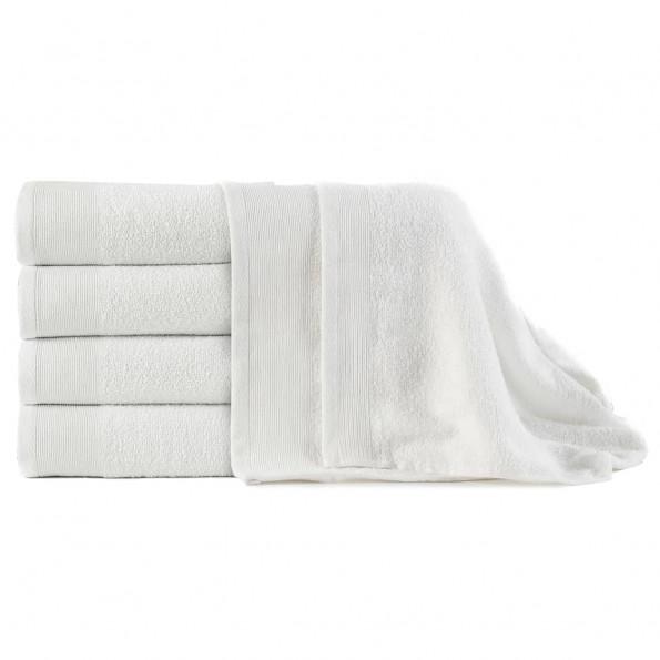 Badehåndklæder 5 stk. bomuld 450 gsm 100x150 cm hvid