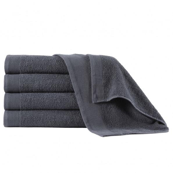 Badehåndklæder 5 stk. bomuld 450 gsm 70x140 cm antracitgrå