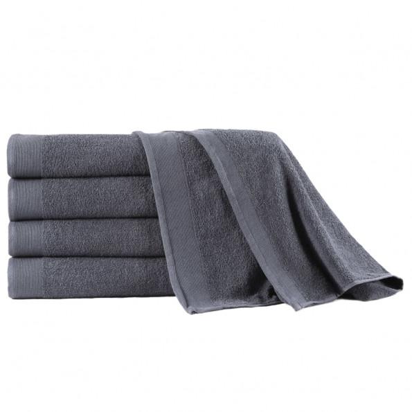 Badehåndklæder 5 stk. bomuld 450 gsm 100x150 cm antracitgrå