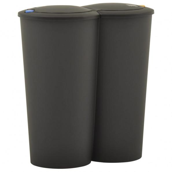 Dobbelt affaldsspand 50 L sort