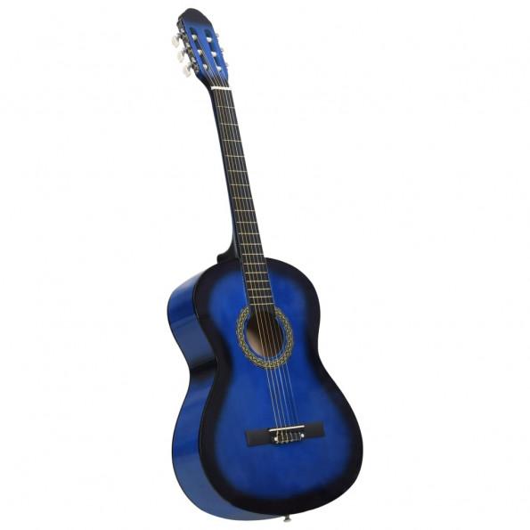 """Klassisk guitar til begyndere 4/4 39"""" lindetræ blå"""