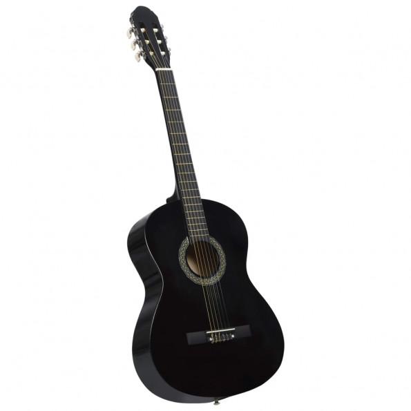 """Klassisk guitar til begyndere 4/4 39"""" lindetræ sort"""