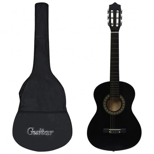 """Klassisk guitarsæt 8 dele for begyndere 1/2 34"""" sort"""