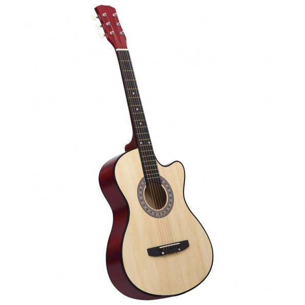"""Akustisk western-guitar med 6 strenge 38"""" lindetræ"""