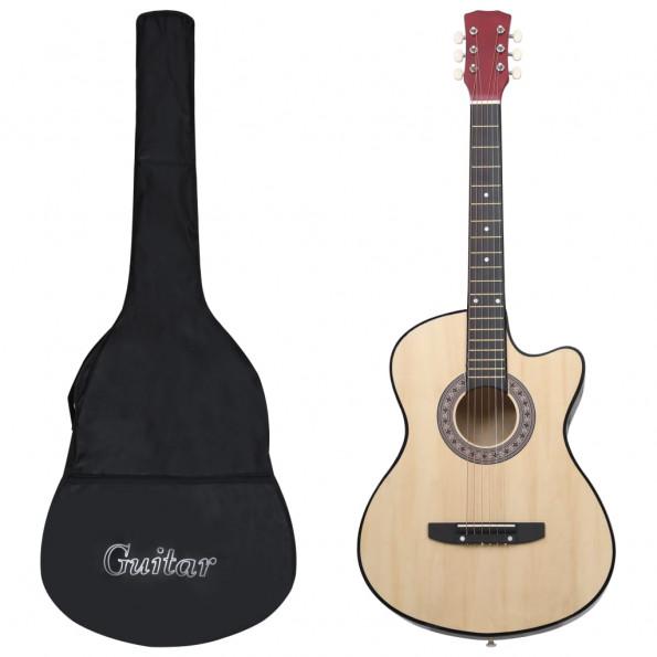 """Akustisk western-guitarsæt 12 dele med 6 strenge 38"""""""
