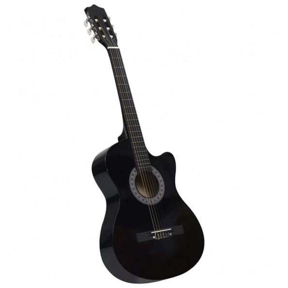 """Akustisk western-guitar med 6 strenge 38"""" sort"""