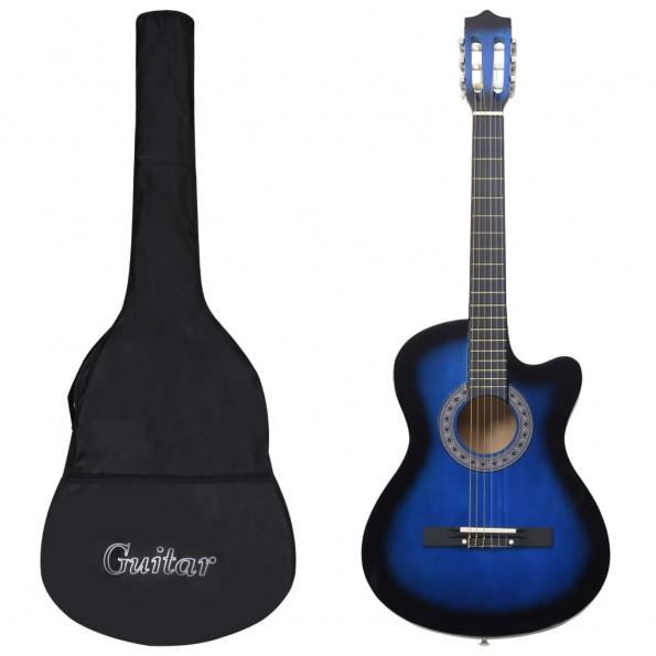 """Akustisk western-guitarsæt 12 dele med 6 strenge 38"""" blå"""