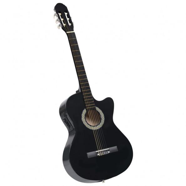 Akustisk western-guitar med equalizer og 6 strenge sort