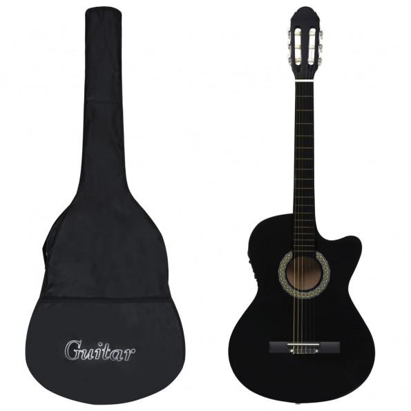Western-guitarsæt 12 dele med equalizer og 6 strenge sort