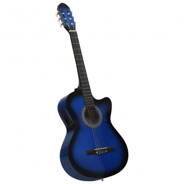 Akustisk western-guitar med equalizer og 6 strenge blå