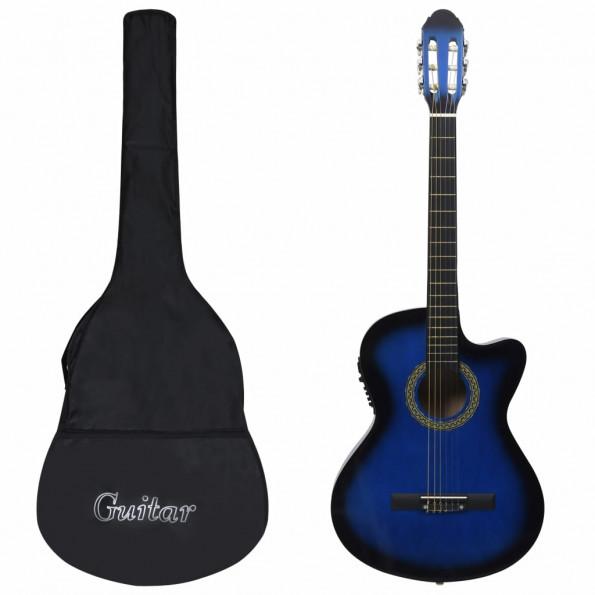 Western-guitarsæt 12 dele med equalizer og 6 strenge blå